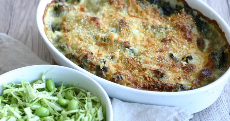 Vegetarisk lasagne med spinat og svampe
