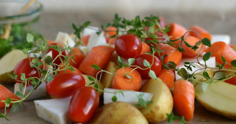 Bagte grøntsager med persilleolie